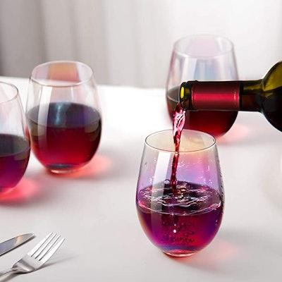 CEEFU Rainbow Wine Glasses (Set of 4)