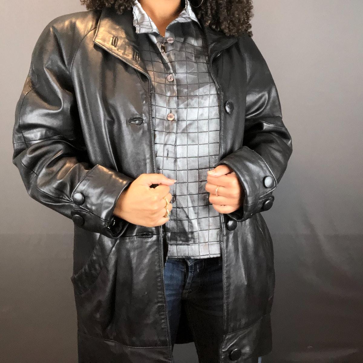@sssumayaaa Retro Black Leather Trench Coat