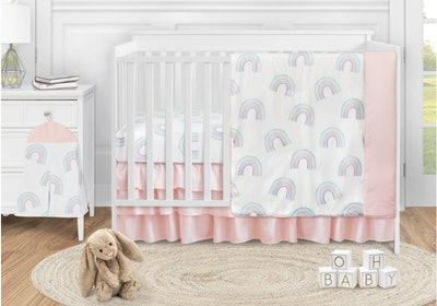 Rainbow 4 Piece Crib Bedding Set