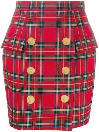 High-Waist Check Print Skirt