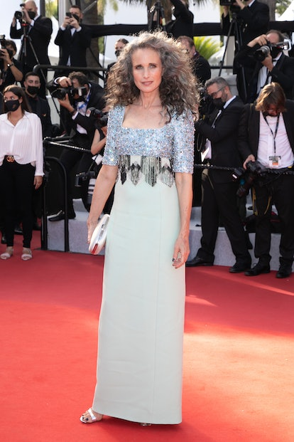 """Actress Andie McDowell attends the """"Annette"""" screening and opening ceremony during the 74th annual Cannes Film Festival on July 06, 2021 in Cannes, France."""