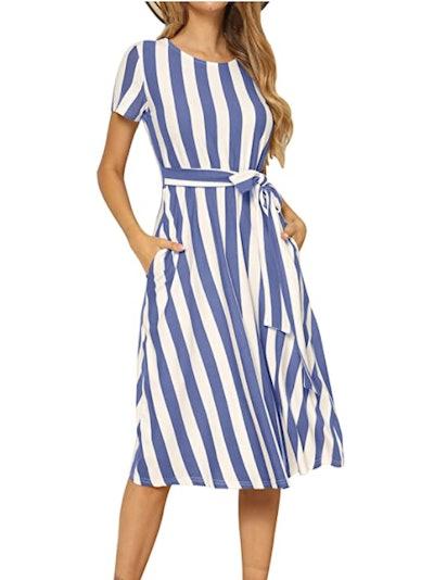 levaca Midi Belt Dress with Pockets