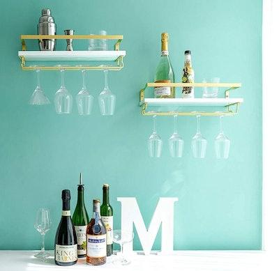 Mkono Wall Mounted Wine Shelves (Set of 2)