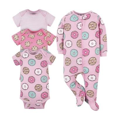 4-Piece Baby Donuts Onesies® Brand Bodysuit & Sleep 'N Play Set