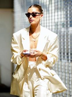 Hailey Bieber is seen on July 06, 2021 in Los Angeles, California.