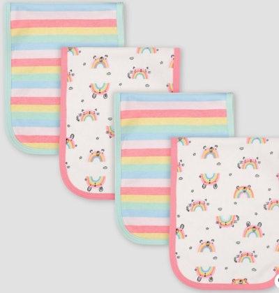 Gerber Baby Girls' 4pk Rainbow Print Interlock and Terry Burp Cloth Set