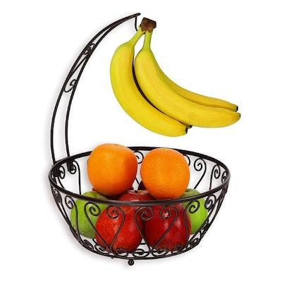 Simple Houseware Fruit Basket Bowl with Banana Tree Hanger