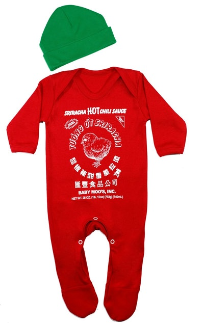 Sriracha Hot Chilli Sauce Baby Costume Set   Sleepsuit & Hat Set   Novelty Food Romper Outfit Clothe...