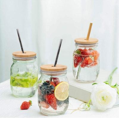 CNVOILA Bamboo Mason Jar Lids with Straws (2 pack)