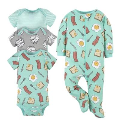 4-Piece Baby Breakfast Onesies® Brand Bodysuit & Sleep 'N Play Set