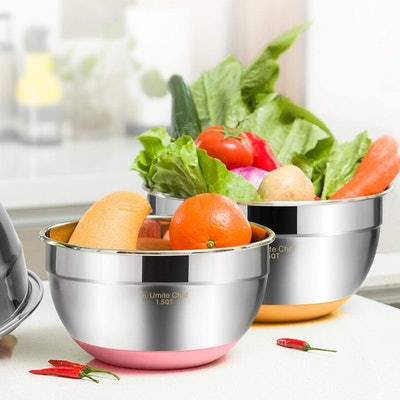 Umite Chef Mixing Bowls with Non-Slip Bottom and Airtight Lids (6 pieces)
