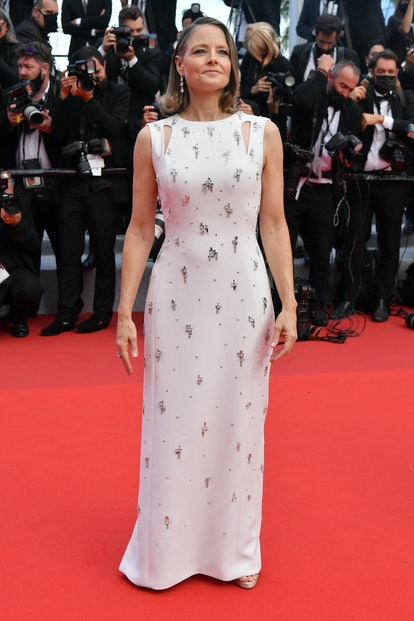 """Jodie Foster, hair detail attends the """"Annette"""" screening and opening ceremony during the 74th annual Cannes Film Festival on July 06, 2021 in Cannes, France."""
