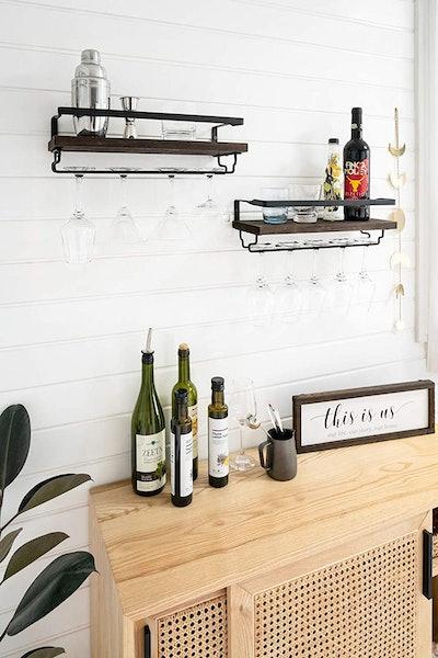 Mkono Wall Mounted Wine Shelves (2-Pack)