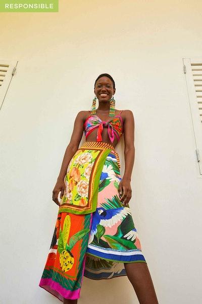 Multi Scarves Midi Skirt