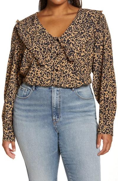 Esther Animal Print Collar Blouse