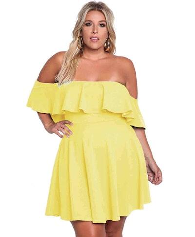 ROSIANNA Plus Size Off Shoulder Swing Dress