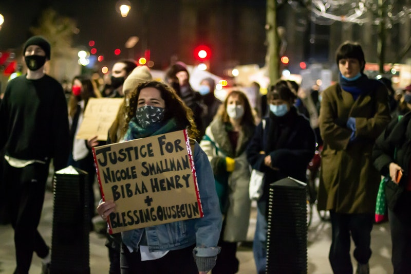 """Protest sign saying """"Justice for Nicole Smallman, Bibaa Henry, & Blessing Olusegun"""""""