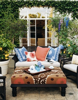 cozy outdoor seating area surrounded by potted lemon trees
