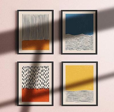 Haus and Hues Modern Abstract Wall Art Prints (Set of 4)