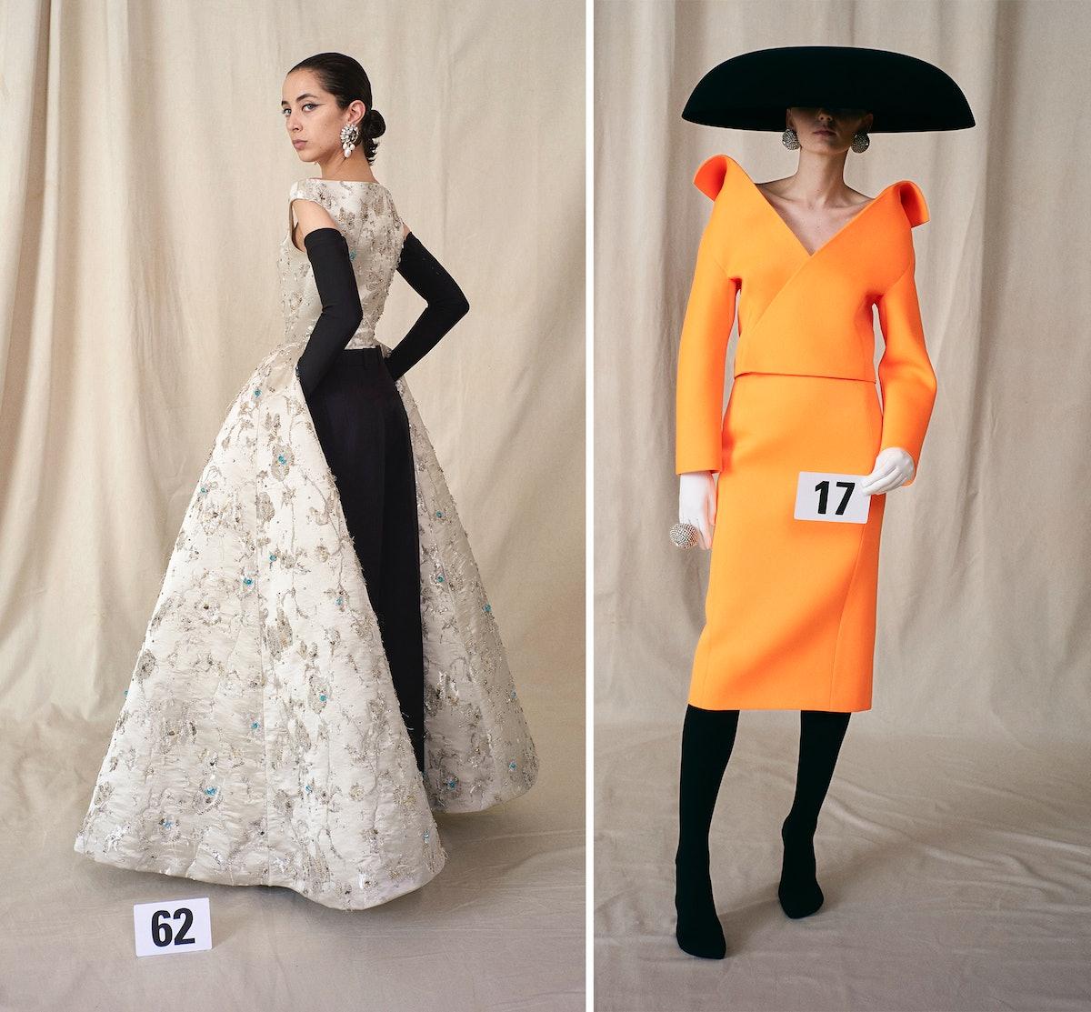 Two Balenciaga couture looks