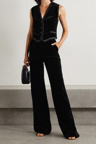 Mellie Grosgrain-Trimmed Cotton-Velvet Vest