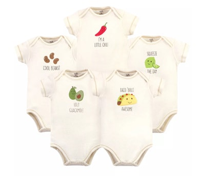 Touched by Nature Organic Cotton Bodysuits 5pk, Taco