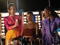 Zión Moreno as Luna La, Jordan Alexander as Julien Calloway, and Savannah Smith as Monet de Haan in ...