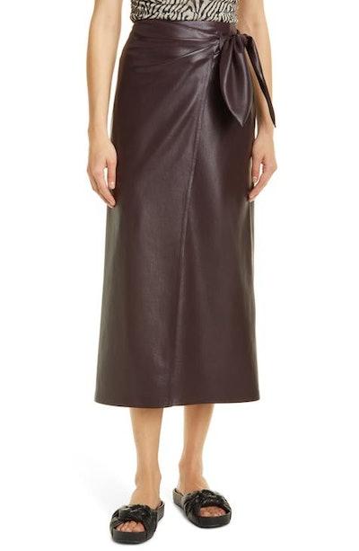 Amas Faux Leather Sarong Midi Skirt
