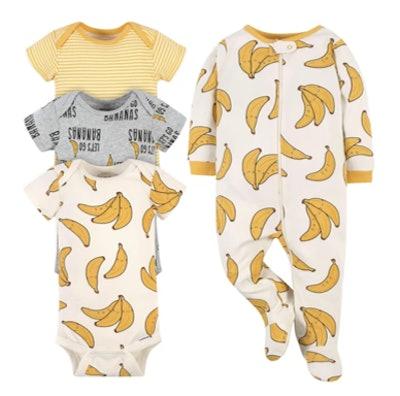 4-Piece Baby Bananas Onesies® Brand Bodysuit & Sleep 'N Play Set