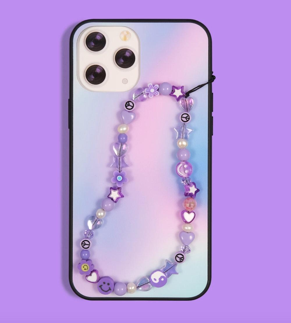 Grape Beaded Phone Strap