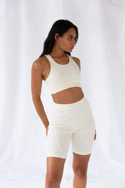 Soft Cream Ribbed Cycle Shorts