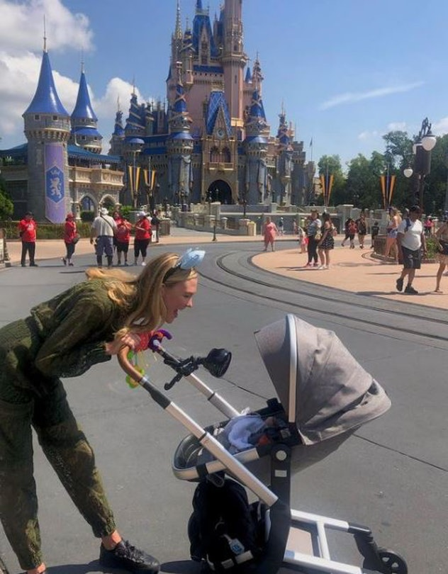 Karlie Kloss with her 3-month old son, Levi, and family at Walt Disney World in Lake Buena Vista, FL...