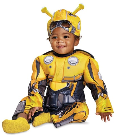 toddler in a Bumblebee Transformers Halloween costume