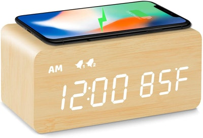 MOSITO Digital Wooden Alarm Clock with Wireless Charging
