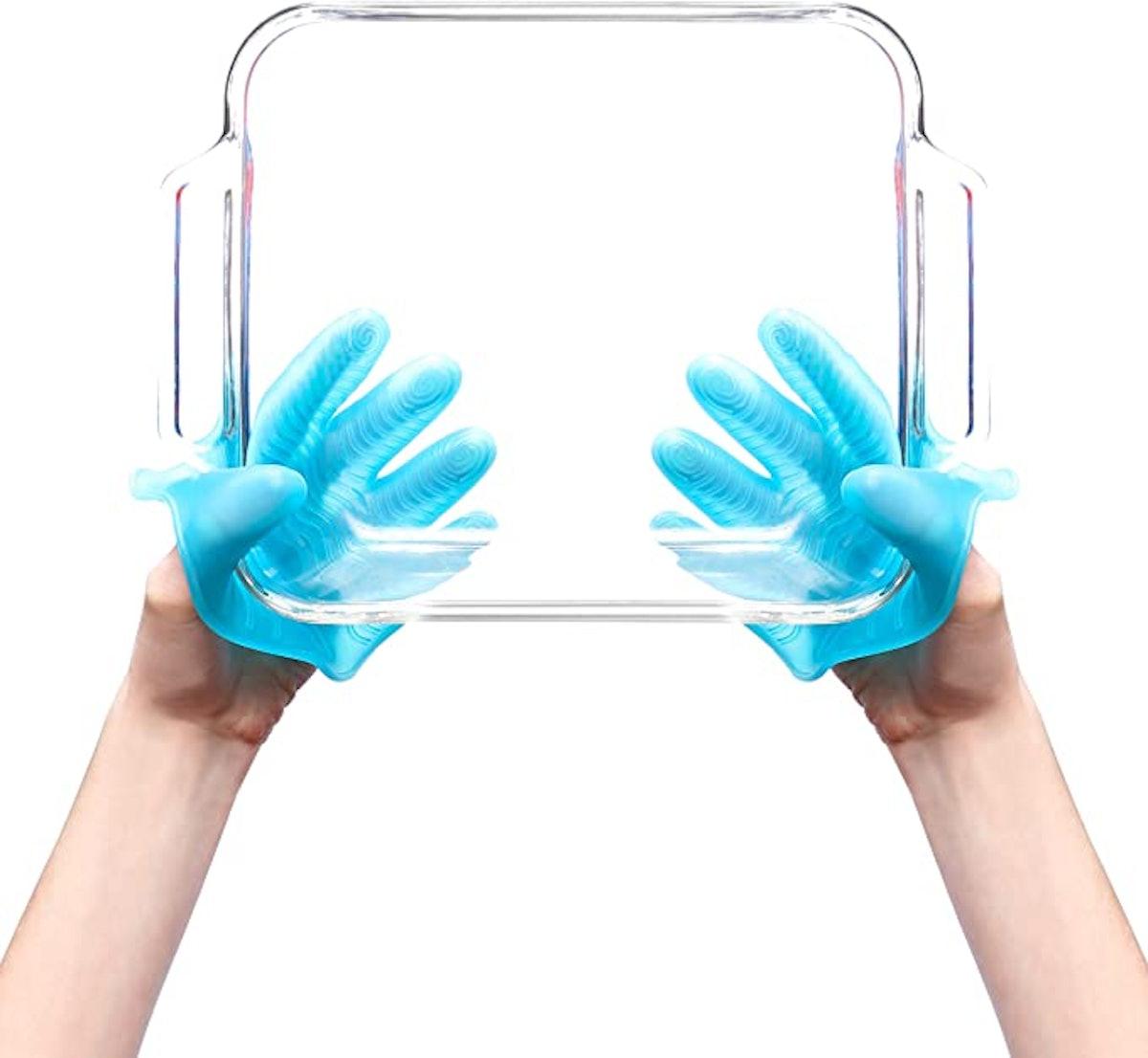 KMN Home 5-Finger Silicone Oven Mitt Gloves