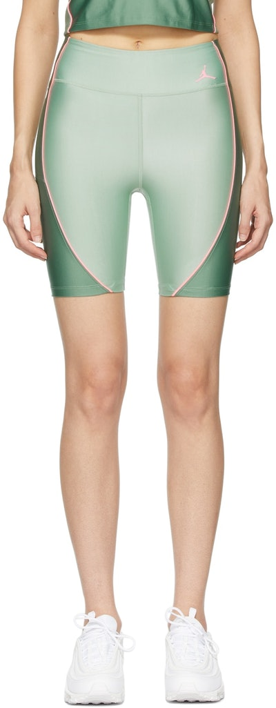 Green Stretch Essentials Bike Shorts