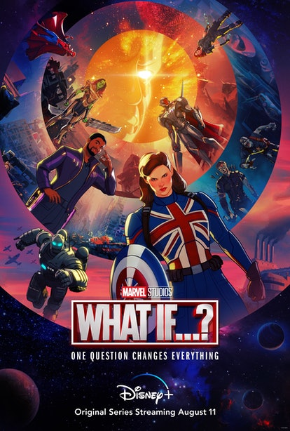The What If...? poster features Marvel fan-favorites T'Challa, Loki, and Hulk, in alternate realitie...