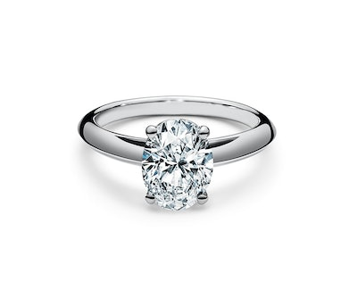 Oval-Cut Diamond Engagement Ring In Platinum (Price Upon Request)