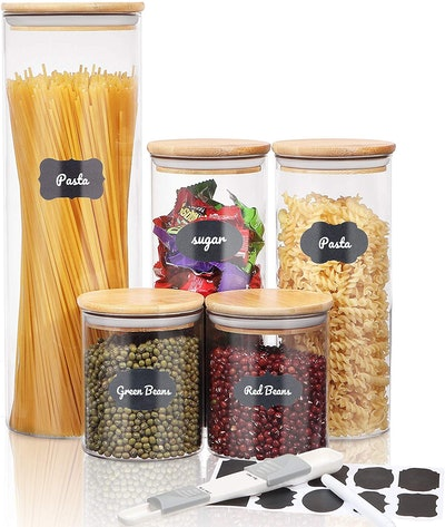SAWAKE Glass Jars with Labels (Set of 5)