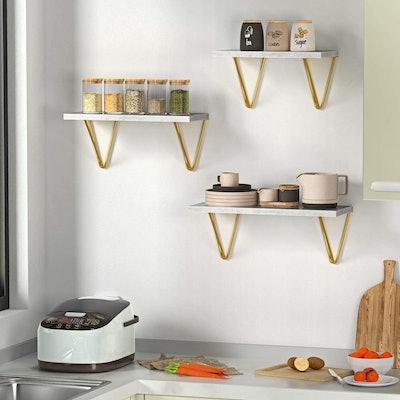 Amada Homefurnishing Marble Floating Shelves (Set of 3)
