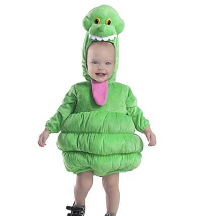 baby dressed as the character Slimer from Ghostbusters