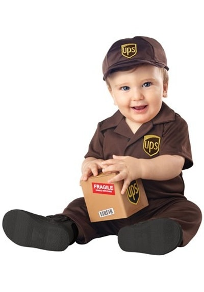 toddler in a UPS Halloween costume