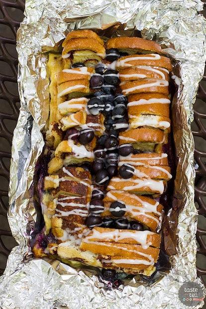 campfire cinnamon blueberry bread