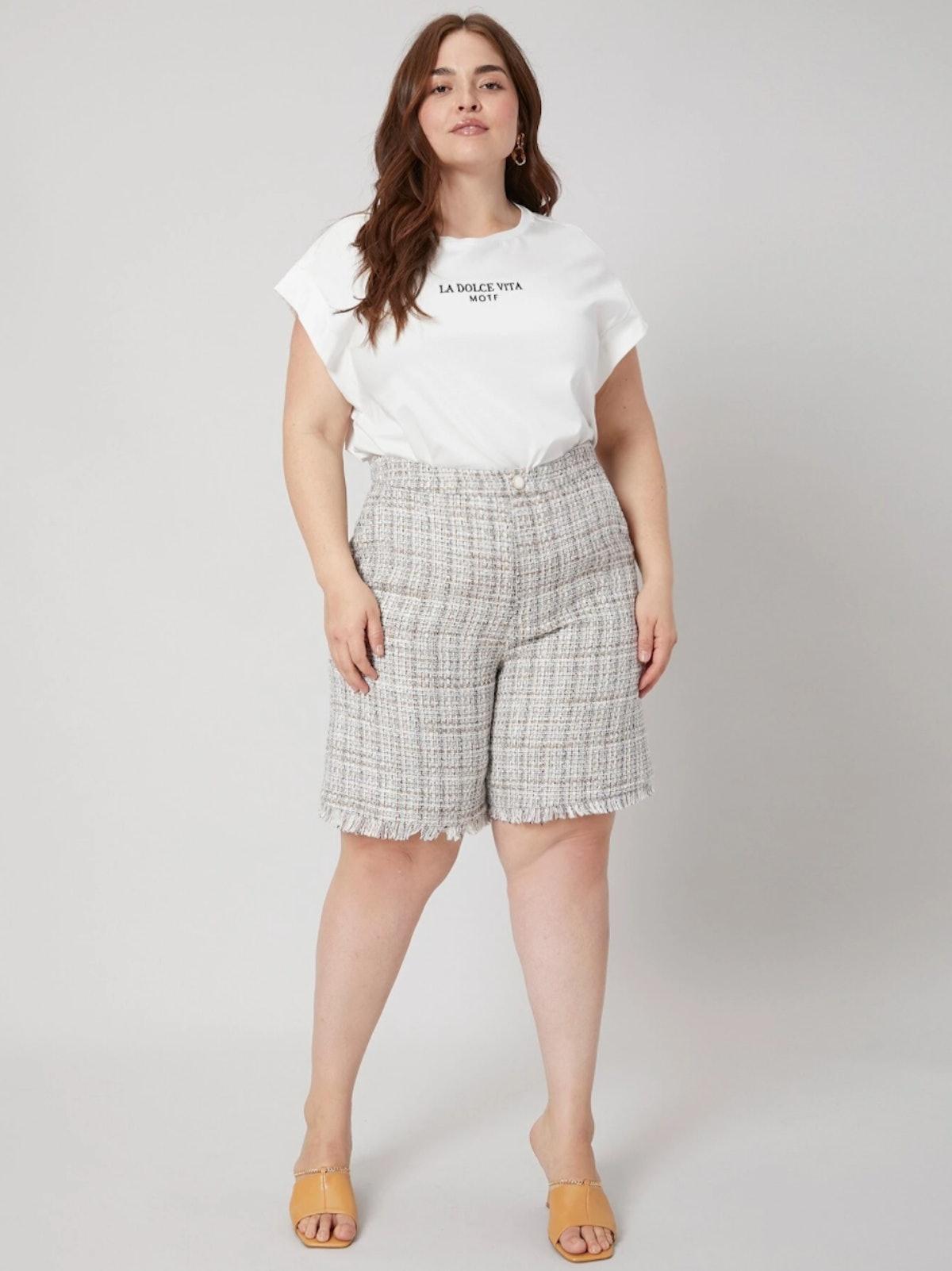 MOTF Premium Plus Tweed Bermuda Shorts