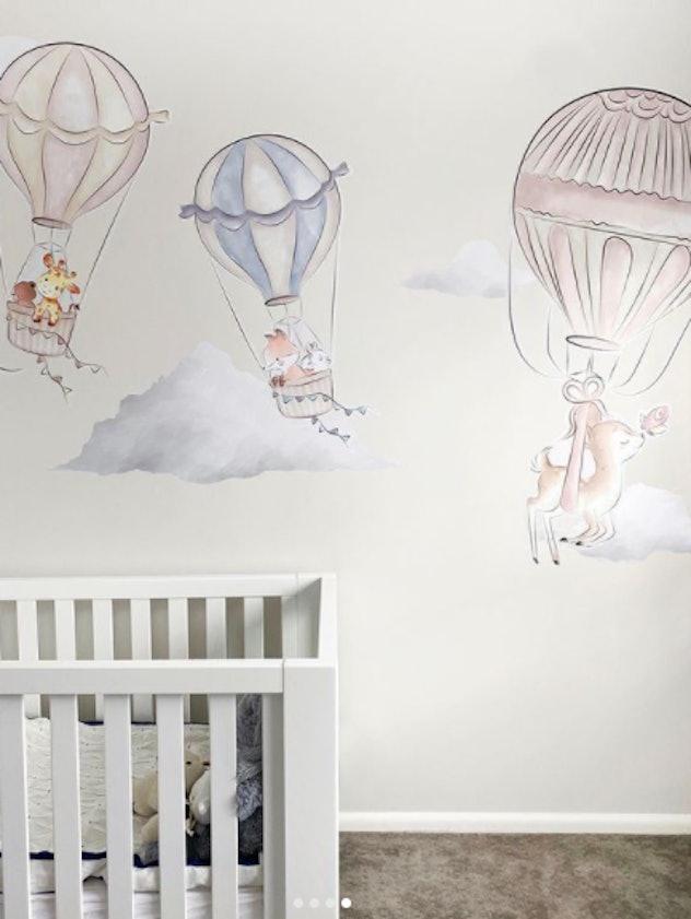 A hot air balloon themed nursery