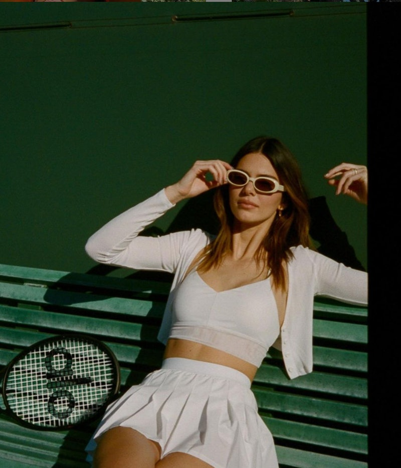 kendall jenner wearing a white tennis outfit