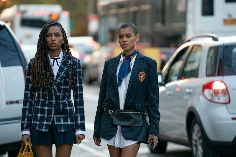 Constance Billard students Monet and Julien in uniform in the 'Gossip Girl' reboot