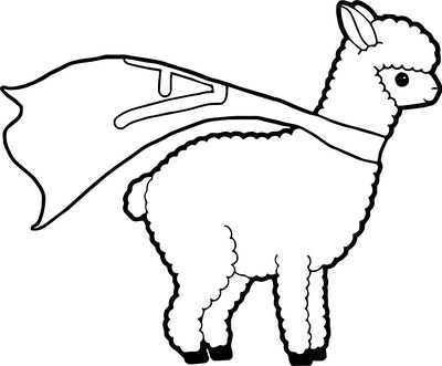 a kids coloring page featuring a llama wearing a superhero cape