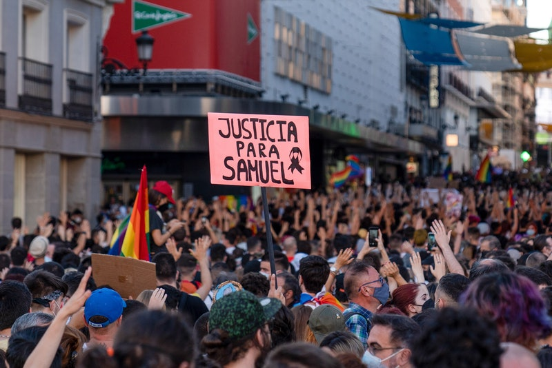MADRID, SPAIN - 2021/07/05: A placard reading ¨Justice for Samuel¨ is raised during the demonstratio...