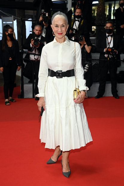 """Dame Helen Mirren attends the """"The Velvet Underground"""" screening during the 74th annual Cannes Film Festival on July 07, 2021 in Cannes, France."""